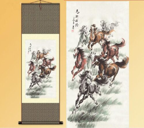 1pc Chinese Silk Scroll Painting Horse Home Decoration