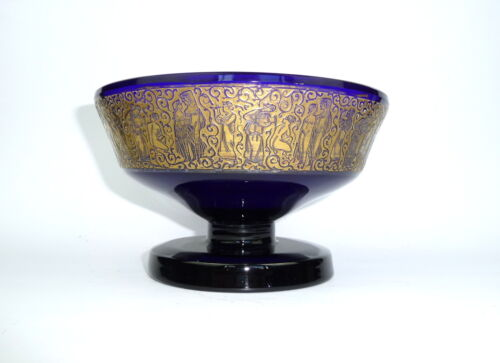 Seltene Big Glass Bowl With Gold Frieze Moser Carlsbad about 1920 Bowl