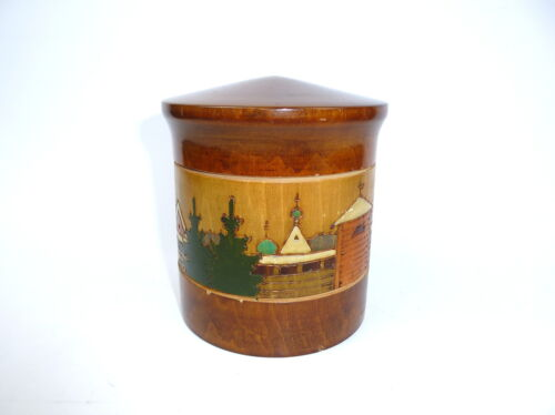 Hand-painted Wooden box with Brand painting Tin Russia um 1890 Russia
