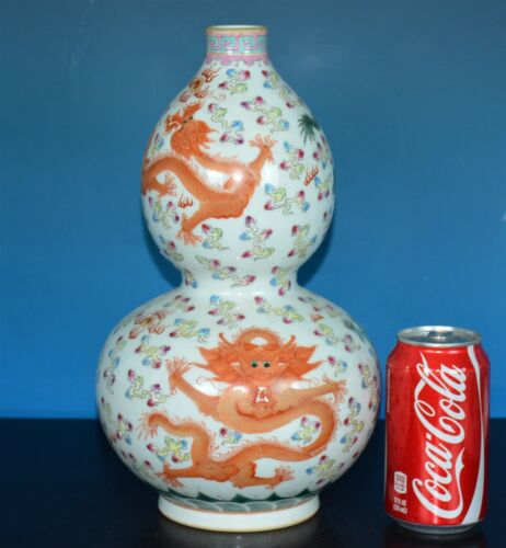 MAGNIFICENT CHINESE FAMILLE ROSE PORCELAIN VASE MARKED QIANLONG H9099