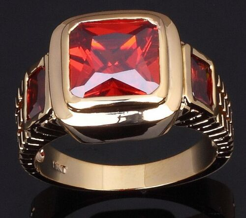 18K GOLD EP 2.5CT GARNET EMERALD CUT MENS RING size 7 - 13 you choose