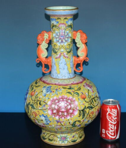 MAGNIFICENT CHINESE FAMILLE ROSE PORCELAIN VASE MARKED QIANLONG A8077