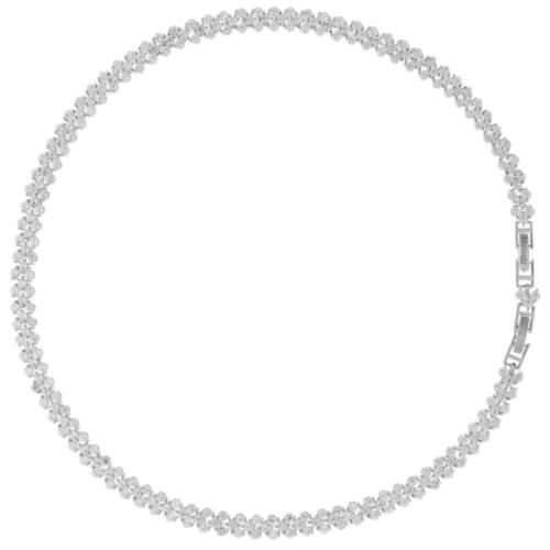 16'' Rhodium Plated Necklace w/ Crystal Link Rope Chain & Crystals by Matashi