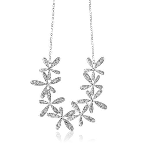 Rhodium Plated Necklace w/ Flowers & 12'' Extendable Chain w/ Crystals by Matash