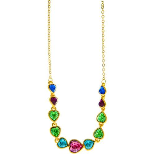 Champagne Gold Plated Necklace w/ String of Hearts & Colored Crystals by Matashi