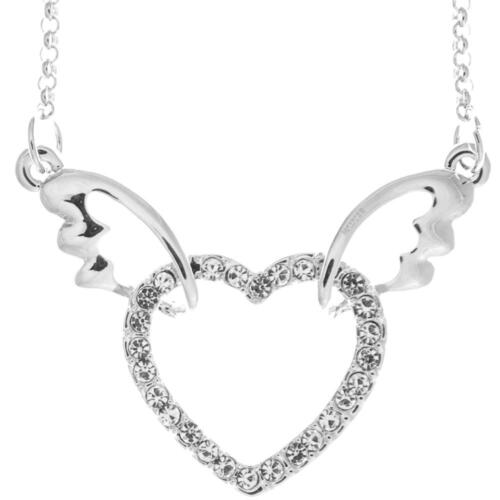 16'' Rhodium Plated Necklace w/ Winged Heart Design & Crystals by Matashi