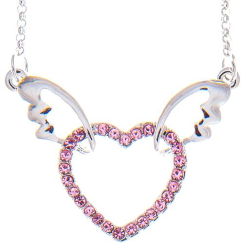16'' Rhodium Plated Necklace w/ Winged Heart Design & Pink Crystals by Matashi