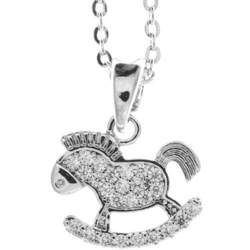 16'' Rhodium Plated Necklace w/ Rocking Horse Design & Clear Crystals by Matashi