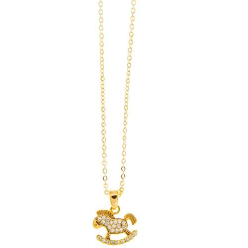 16'' Champagne Gold Plated Necklace w/ Rocking Horse & Clear Crystals by Matashi