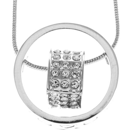 16'' Rhodium Plated Necklace w/ Suspended 3D Heart & Clear Crystals by Matashi