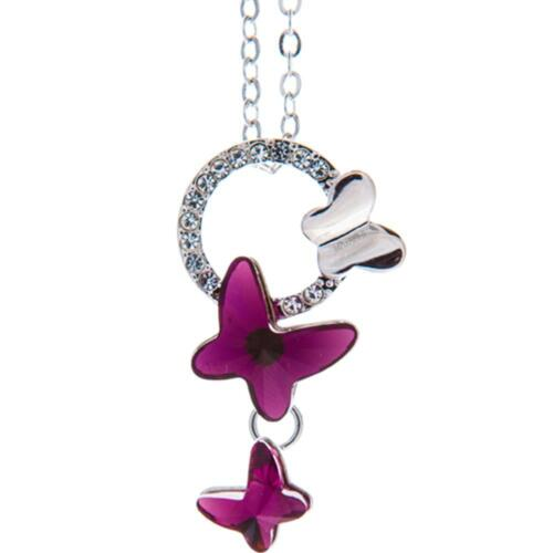 16'' Rhodium Plated Necklace w/ Purple Butterfly & Clear Crystals by Matashi