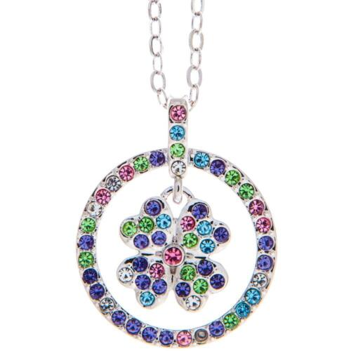 16'' Rhodium Plated Necklace w/ Round Clover & Multi-Colored Crystals by Matashi