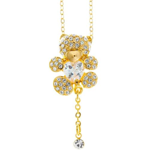 16'' Champagne Gold Plated Necklace w/ Teddy Bear Design & Crystals by Matashi