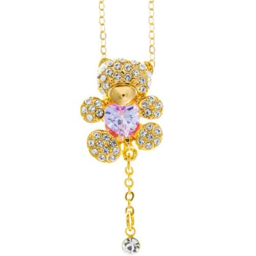 16'' Champagne Gold Plated Necklace w/ Teddy Bear & Pruple Crystals by Matashi