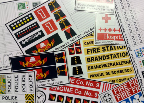 ●● Custom Lego Sticker Stickers - vintage sets ( Fire, Police & Medic ) ●● <br/> Free Shipping Worldwide