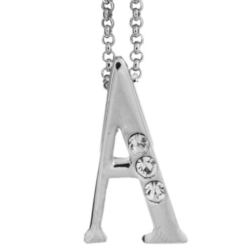 16'' Rhodium Plated Necklace w/ ''A'' Initial & Crystals by Matashi