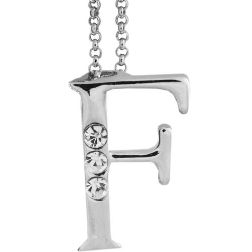 16'' Rhodium Plated Necklace w/ ''F'' Initial & Crystals by Matashi