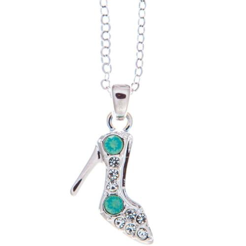 16'' Rhodium Plated Necklace w/ Stiletto Shoe & Quality Blue Crystals by Matashi