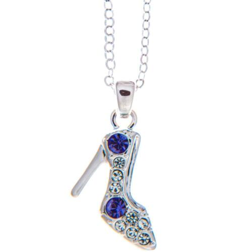 16'' Rhodium Plated Necklace w/ Stiletto Shoe & Purple Clear Crystals by Matashi