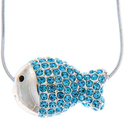 16'' Rhodium Plated Necklace w/ Fish Design & Ocean Blue Crystals by Matashi
