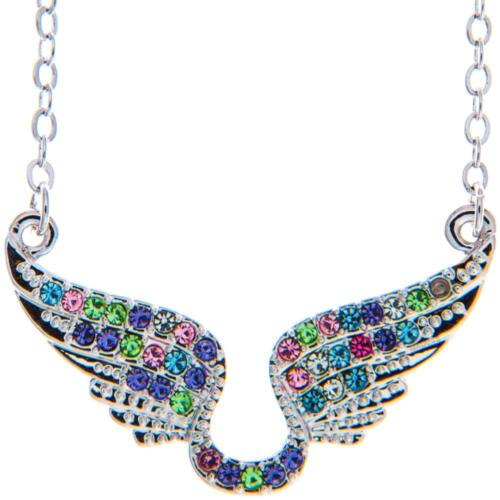 16'' Rhodium Plated Necklace w/ Angel Wings & Multi-Colored Crystals by Matashi