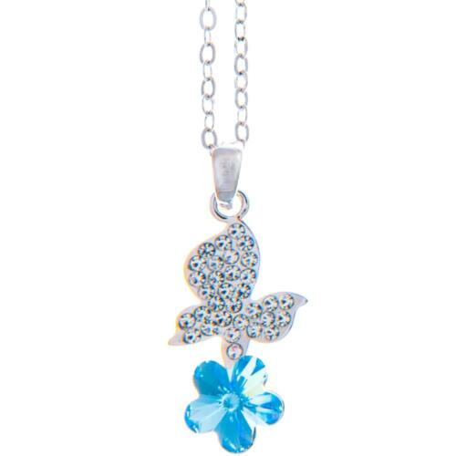 16'' Rhodium Plated Necklace w/ Butterfly Flower & Blue Crystals by Matashi