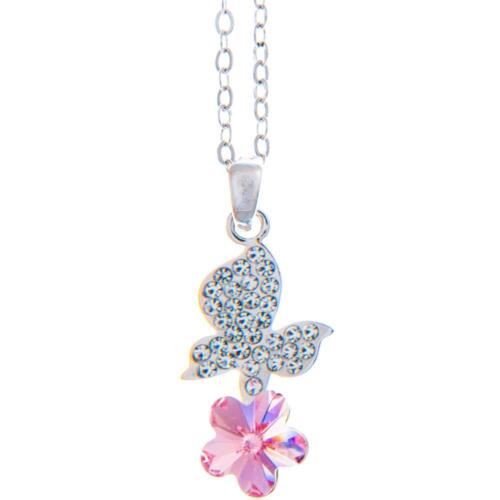 16'' Rhodium Plated Necklace w/ Butterfly Flower & Purple Crystals by Matashi