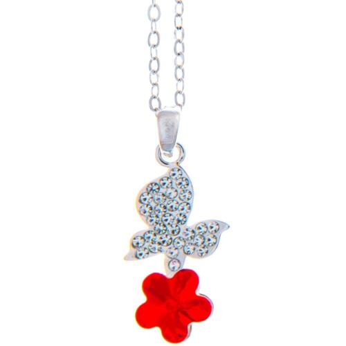 16'' Rhodium Plated Necklace w/ Butterfly Flower & Red Crystals by Matashi