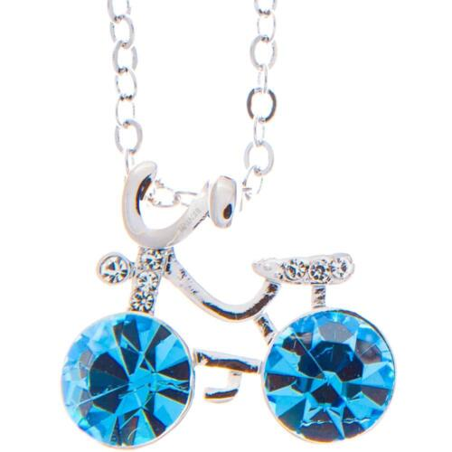 16'' Rhodium Plated Necklace w/ Bicycle & Ocean Blue Crystals by Matashi