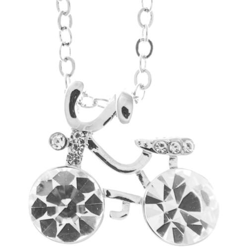 16'' Rhodium Plated Necklace w/ Bicycle & Clear Crystals by Matashi
