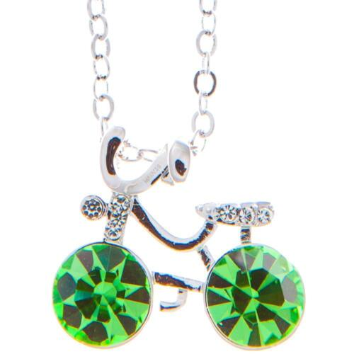 16'' Rhodium Plated Necklace w/ Bicycle & Olive Green Crystals by Matashi