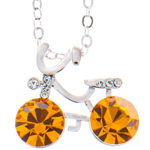16'' Rhodium Plated Necklace w/ Bicycle & Yellow Crystals by Matashi