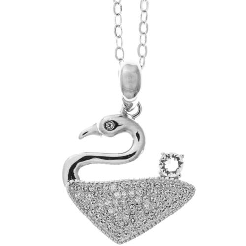 16'' 18K White Gold Plated Necklace w/ Graceful Swan & Clear Crystals by Matashi