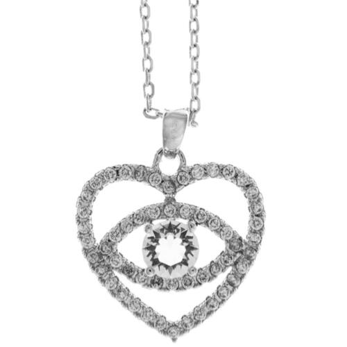 16'' 18K White Gold Plated Necklace w/ 'Eye' Love You & Clear Crystals by Matash