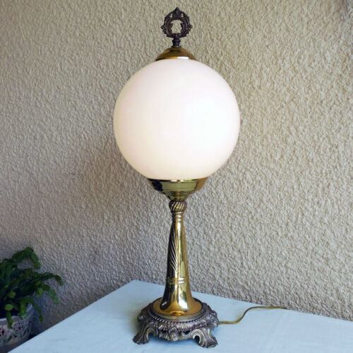 Vintage Art Deco Milk Globe Glass Shade Solid Brass Desk Table Lamp Lighting