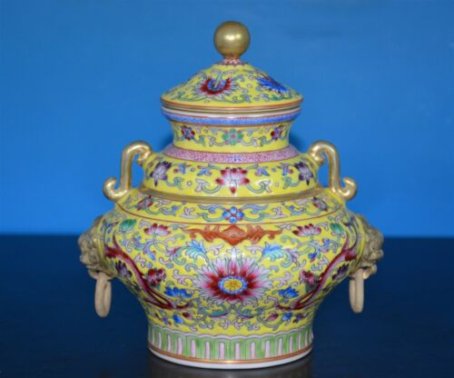 SUPERB CHINESE FAMILLE ROSE INCENSE BURNER MARKED QIANLONG RARE T9277