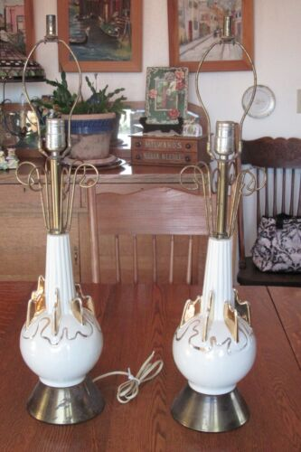 Pair Atomic Sputnik Table Lamps~Brass Glass Metal Gold/Off White Mid Century