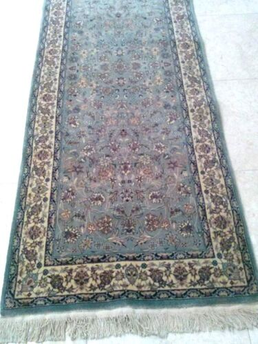 """Beautiful Steel Blue Hand Knotted Runner wool pile Area Rug 2'-7x12'-5"""""""