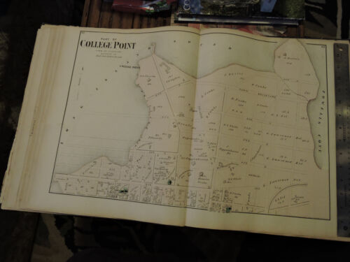 Original 1873 MAP Long Island FLUSHING Twp. COLLEGE POINT Poppenheusen Germans !