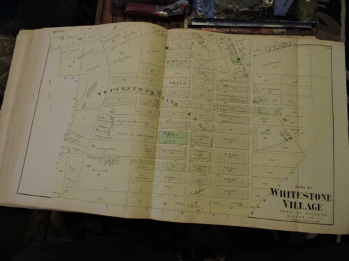 "Original 1873 MAP Long Island WHITESTONE VILLAGE 15"" x 33"" Gorgeous! Excellent"