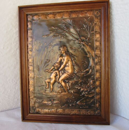 Summer mother child Russian embossed copper WALL plaque nude framed signed  2000