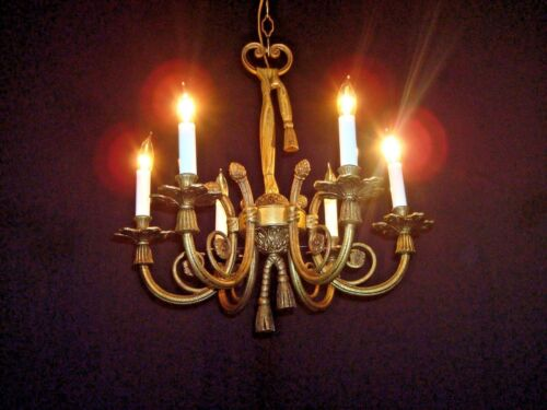 ANTIQUE French 6 Arm 6 Lite Architectural Ribbons & Bows Brass Bronze Chandelier