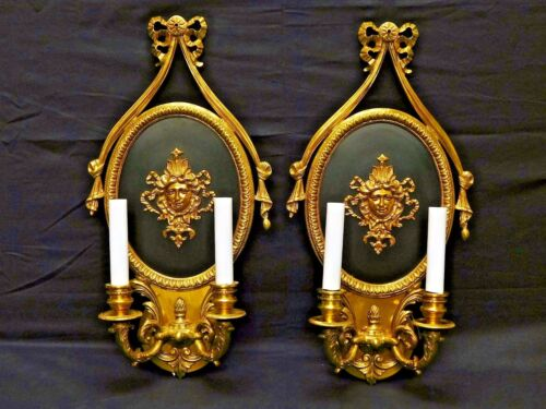 Pair Vintage French Empire Ribbons & Bows Faces Two Lite Wall Sconces