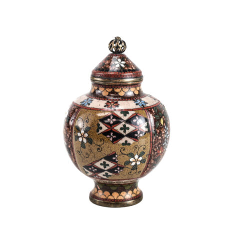Japanese Cloisonne Enamel and Gold Stone Flakes Covered Urn, c1900
