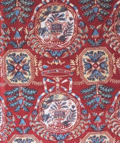"""Antique 18thC French Hand Blocked Partial Quilted Valance~Toile de Jouy~25""""X30"""""""