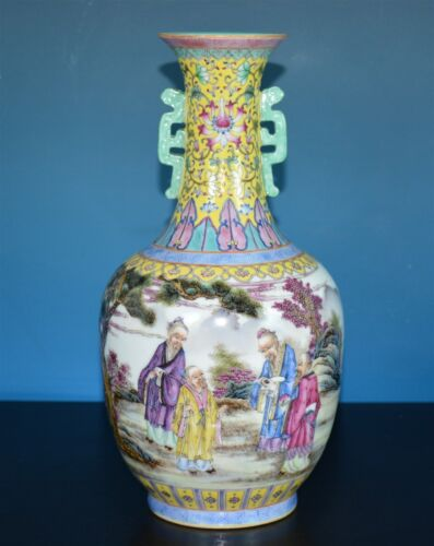 ELEGANT CHINESE FAMILLE ROSE PORCELAIN VASE MARKED KANGXI V0576