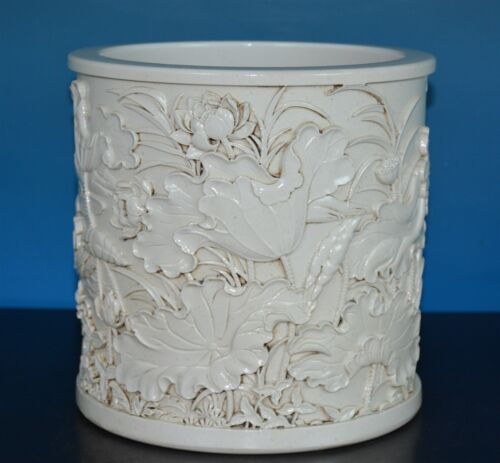 DELICATE CHINESE MONOCHROME PORCELAIN BRUSH POT MARKED WANG BINGRONG J96