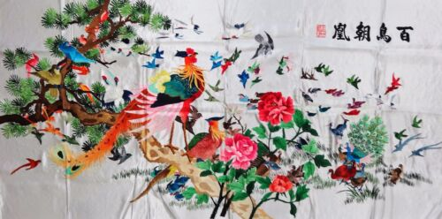 Handwoven Silk Chinese Embroidery - 100 Birds (200 cm x 93 cm) #2