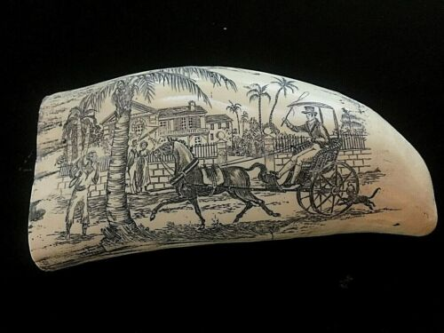 """Scrimshaw Sperm whale tooth resin replica """"WEARING  & CO.  7"""" AROUND THE CURVE"""