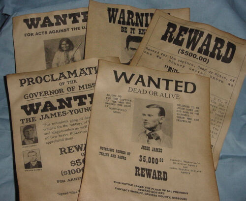 5 Old West Posters Outlaw Billy the Kid Jesse James Geronimo Doc Holliday wanted